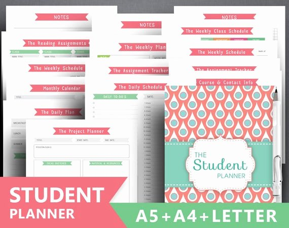 Printable College Student Planner New College Planner Printable Student Planner by Squirrelplanner