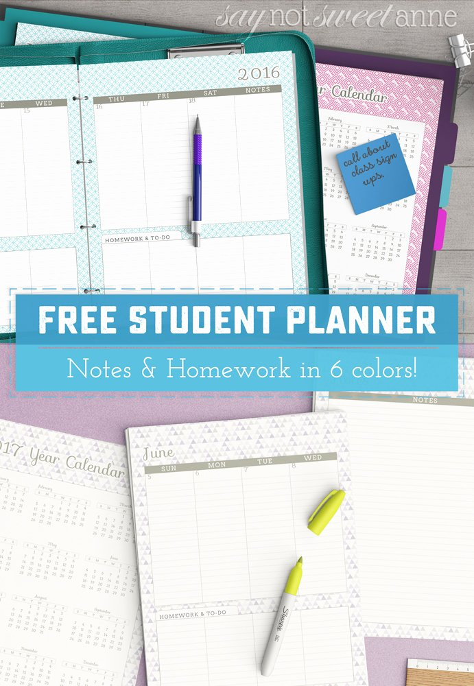 Printable College Student Planner New Free Printable Student Planner Sweet Anne Designs