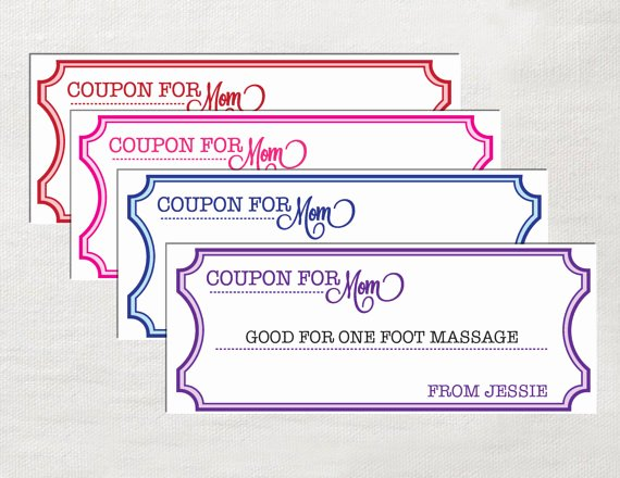 Printable Coupon Template Word Elegant Instant Editable Coupons for Mom Printable Great Mother S
