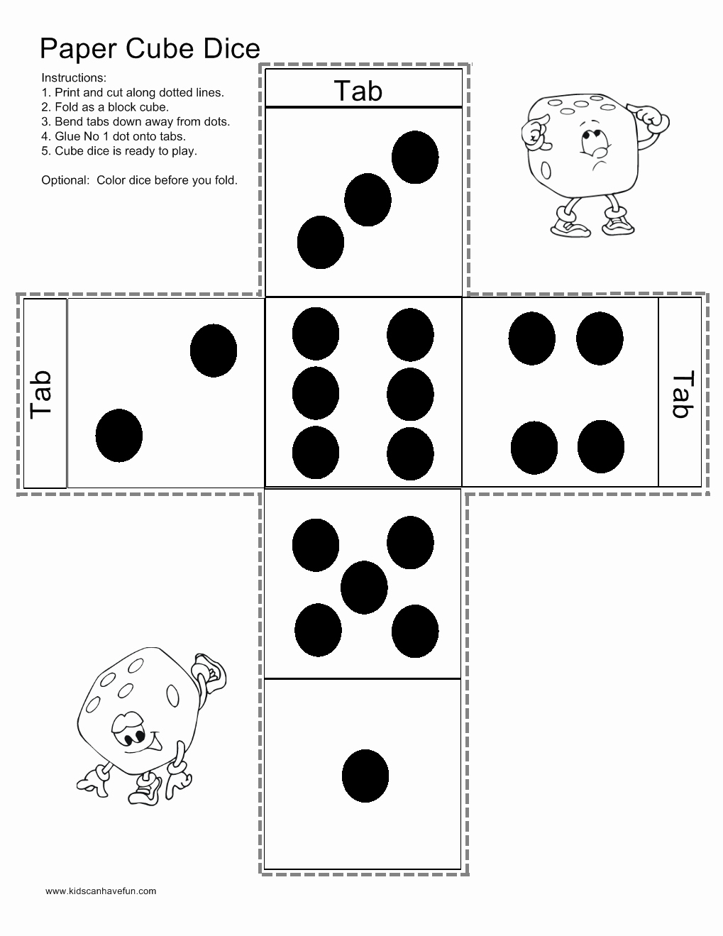 Printable Dice Template Lovely Make A Paper Cube Dice