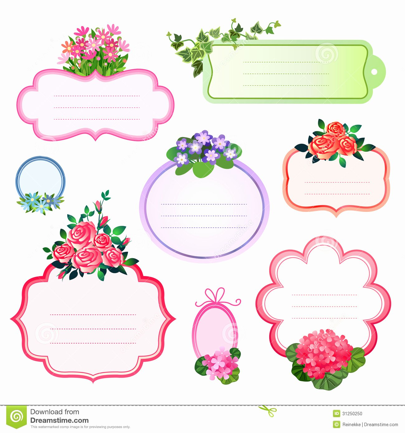 Printable Dog Tag Template Best Of Etiquetas De La Flor Ilustración Del Vector Ilustración
