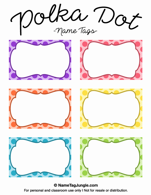 Printable Dog Tag Template Elegant Free Printable Polka Dot Name Tags the Template Can Also