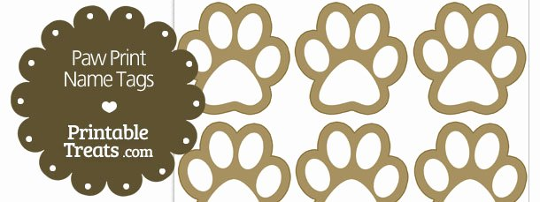 Printable Dog Tag Template Elegant Paw Print Name Tags — Printable Treats