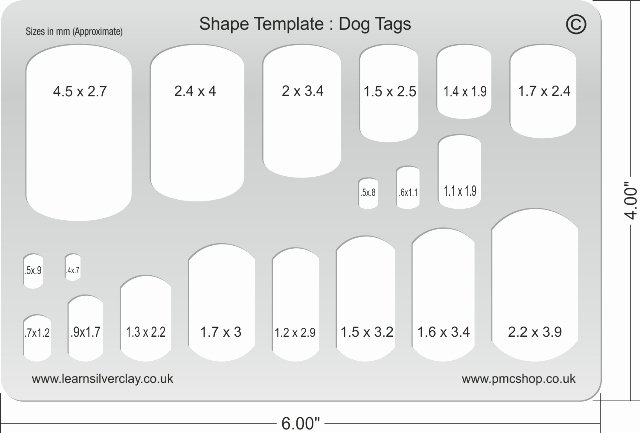Printable Dog Tags Templates Inspirational Metal Clay Template Dog Tags