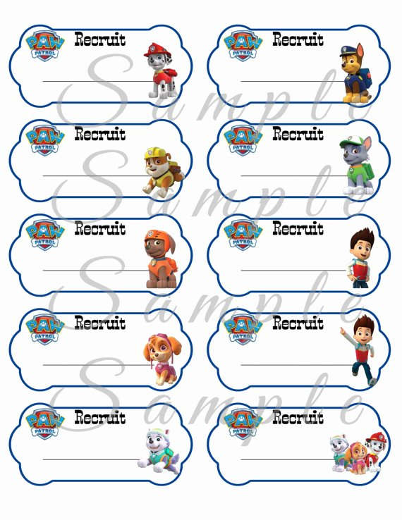 Printable Dog Tags Templates Unique Paw Patrol Name Tags Birthday Party Favor Printable 2x4 Inch