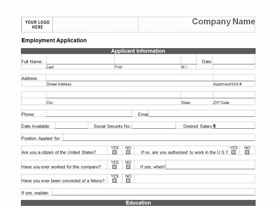 Printable Employment Application Template Lovely Printable Job Application