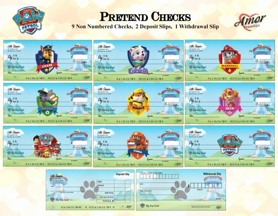 Printable Fake Check Awesome Paw Patrol Pretend Play Checks Play Money Paw Patrol