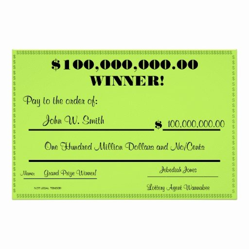 Printable Fake Check New Fake Lottery Check Huge Print