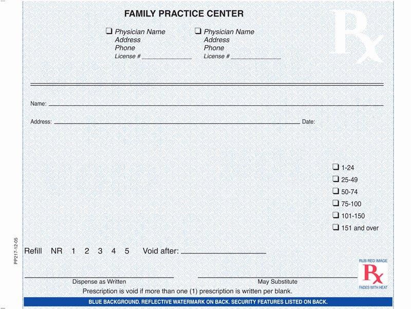 Printable Fake Prescription forms New Custom Prescription Pads Indiana Blue Rx Pad Horiz