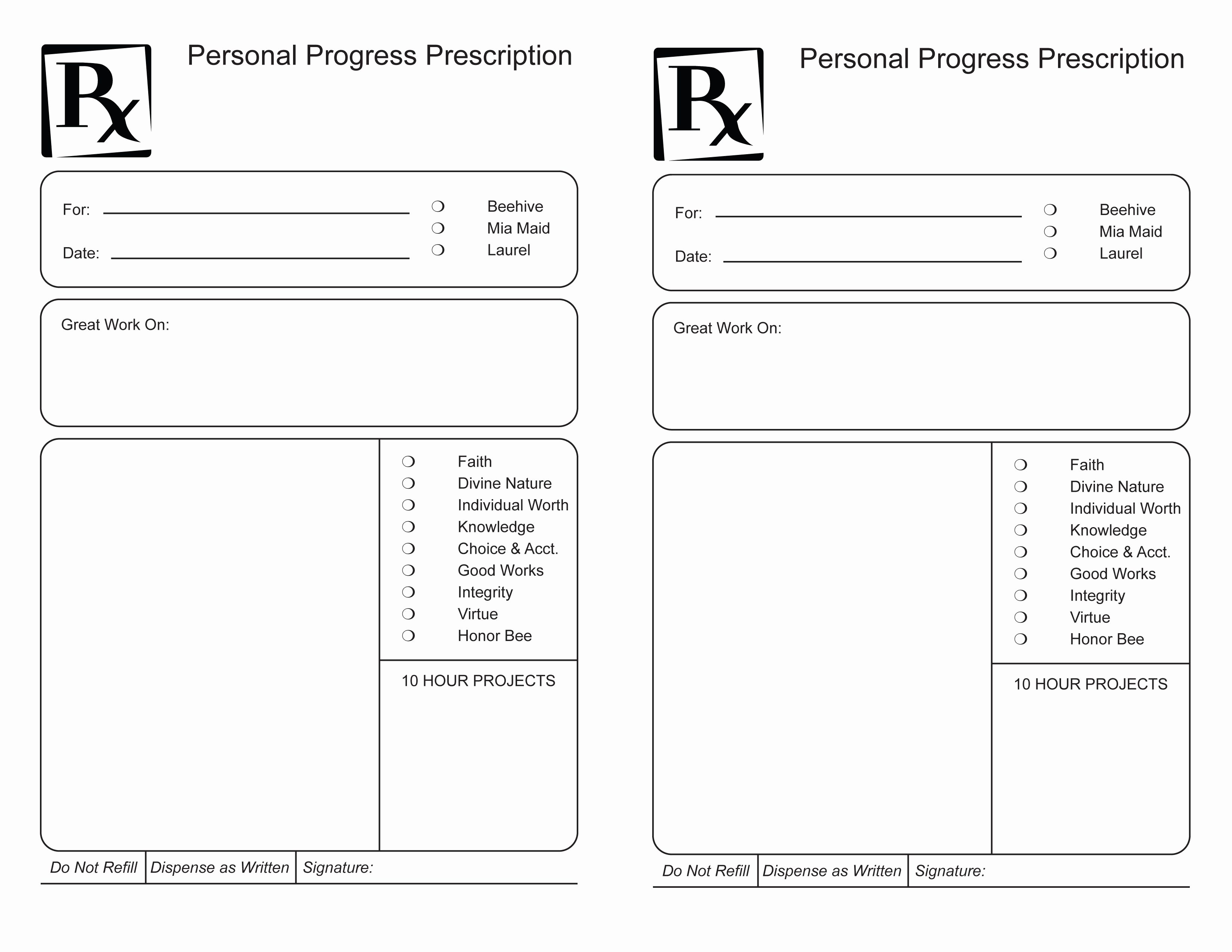 Printable Fake Prescription forms New Young Women Rx for Personal Progress