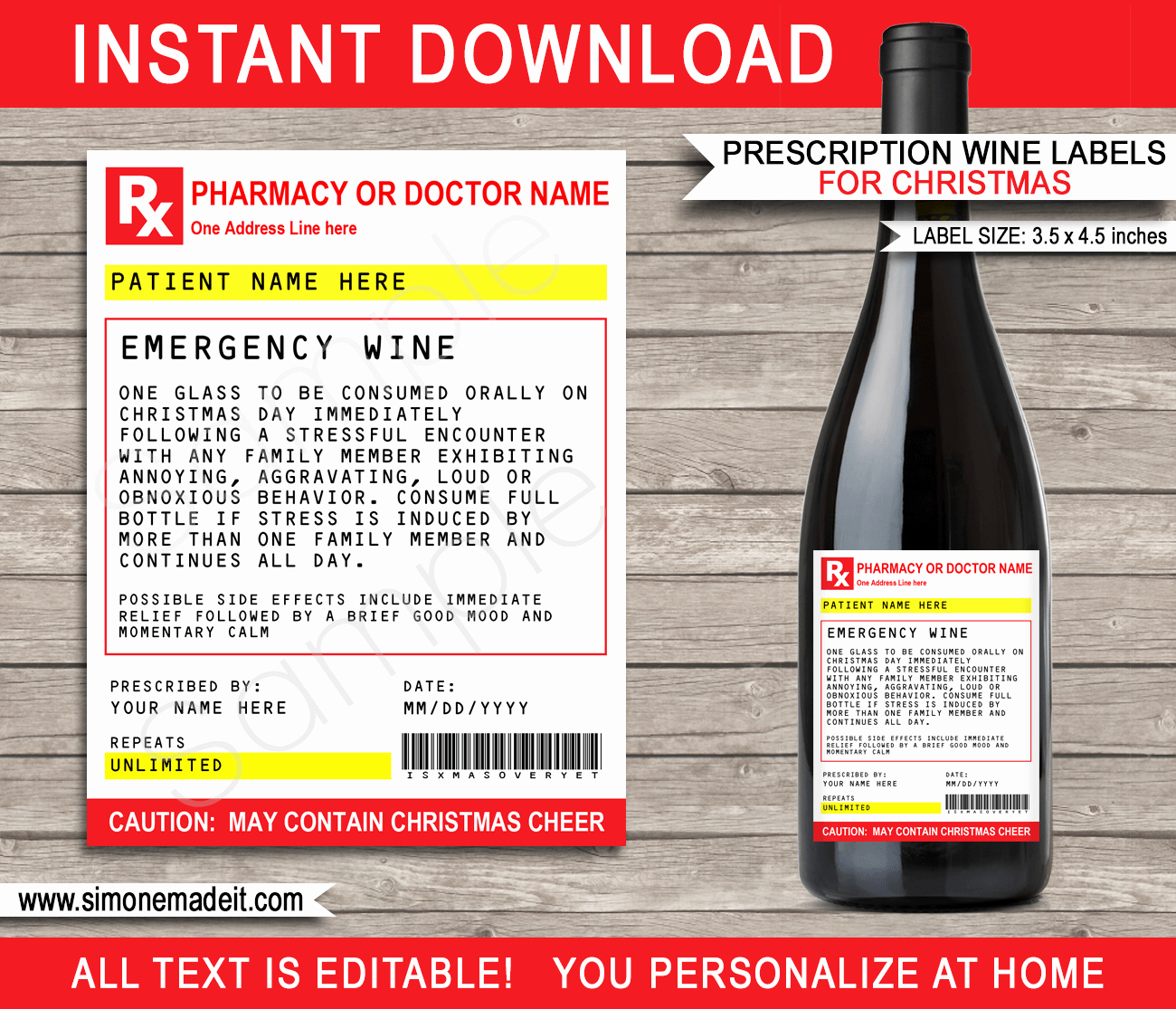 Printable Fake Prescription Labels Awesome Christmas Prescription Wine Bottle Labels Template Secret