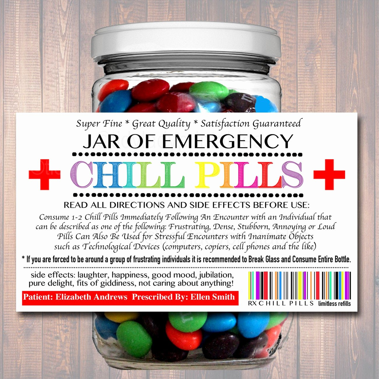 Printable Fake Prescription Labels Awesome Editable Chill Pills Label Funny Gag Gift Professional