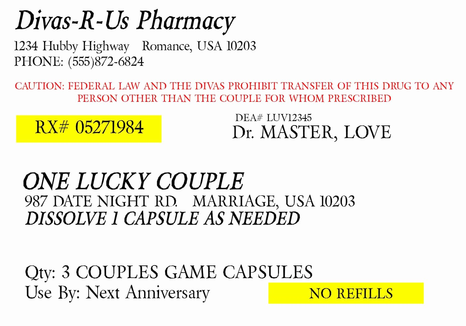 Printable Fake Prescription Labels Elegant Prescription for Fun A Free Printable Romance Idea