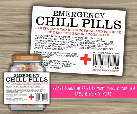 Printable Fake Prescription Labels Fresh Chill Pills Printable Label Funny Gift Instant Download