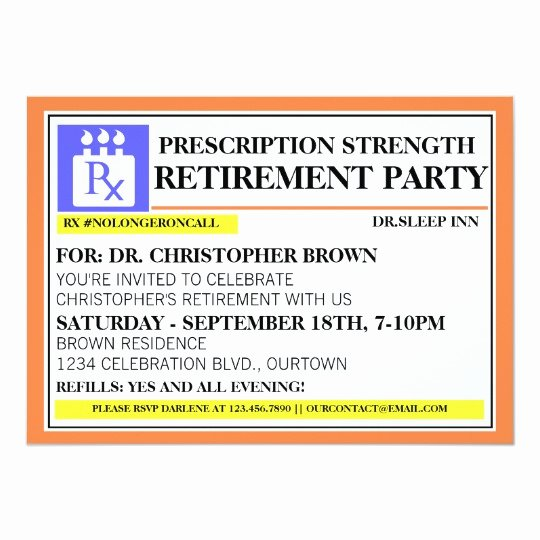 Printable Fake Prescription Labels Lovely Fun Prescription Label Retirement Invitations