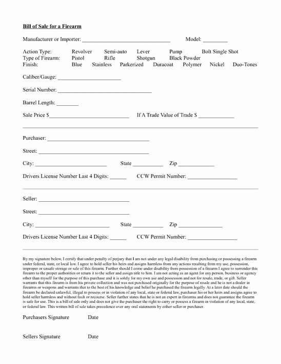 Printable Firearms Bill Of Sale Best Of Standard Bill Of Sale form
