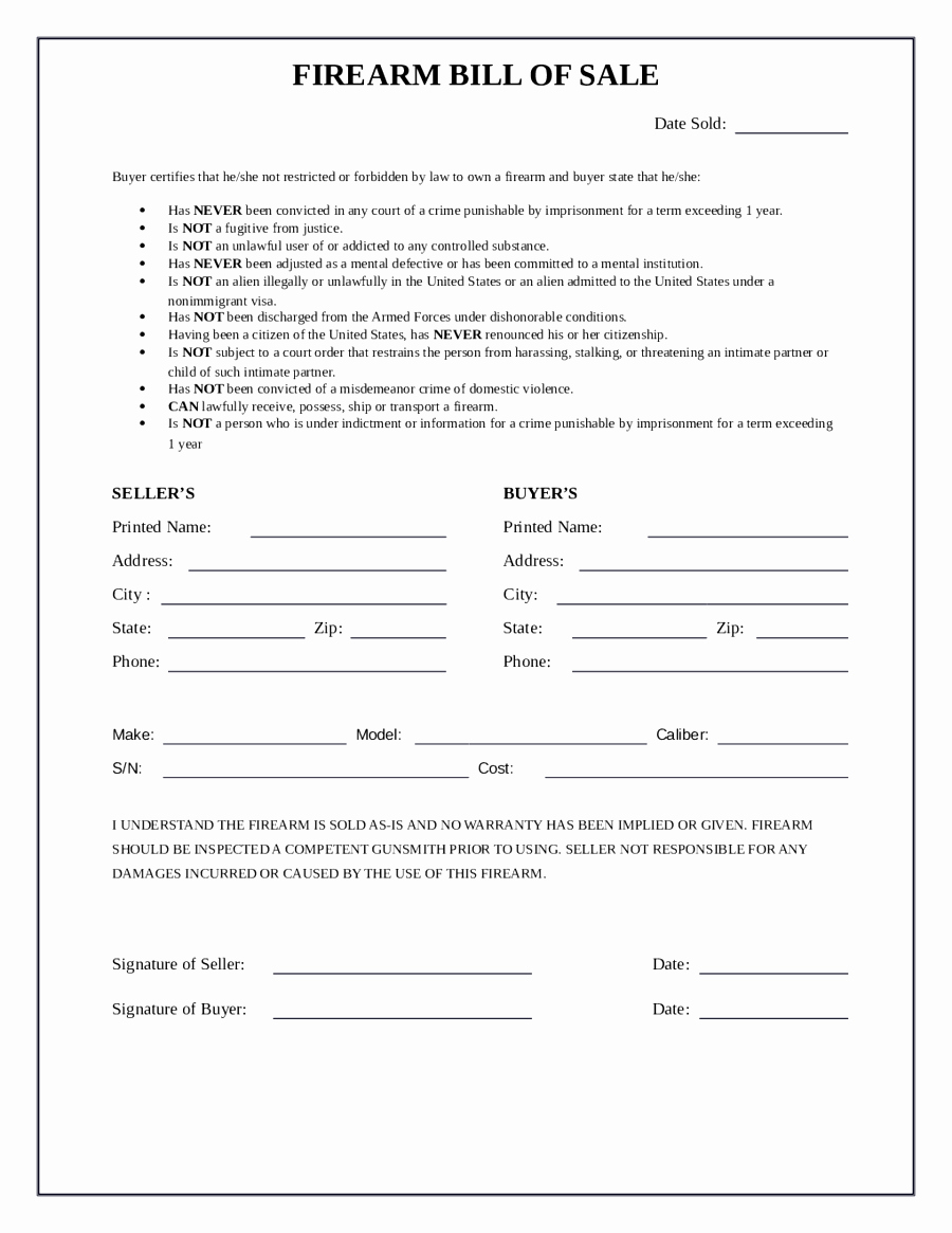 Printable Firearms Bill Of Sale New Bill Of Sale form for