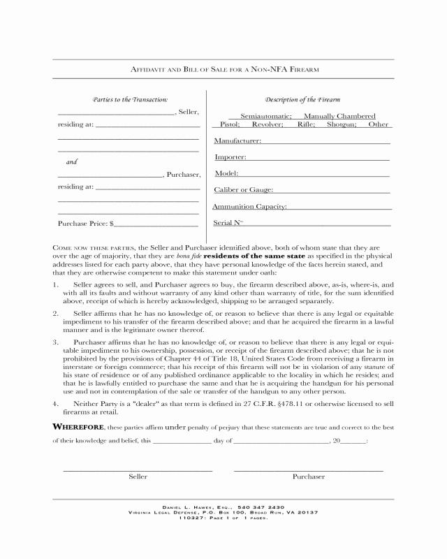 Printable Firearms Bill Of Sale Unique Firearm Bill Of Sale form Virginia Edit Fill Sign