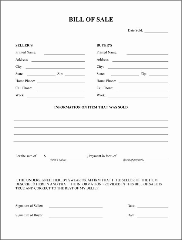 Printable Firearms Bill Of Sale Unique Free Printable Rv Bill Of Sale form form Generic