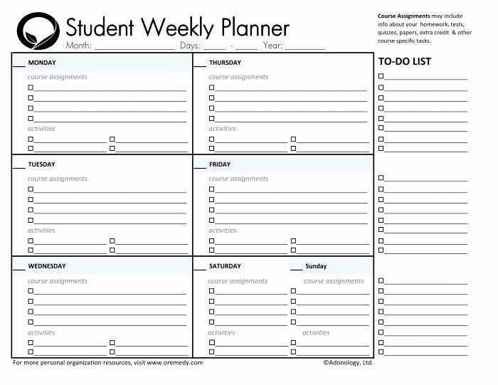 Printable Homework Planner for College Students Awesome Day Planner Printable
