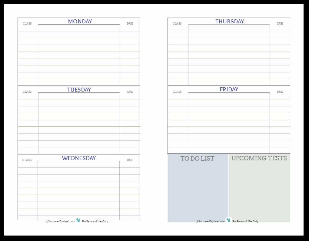Printable Homework Planner for College Students Beautiful Getting Ready for Back to School Student Planner Printables