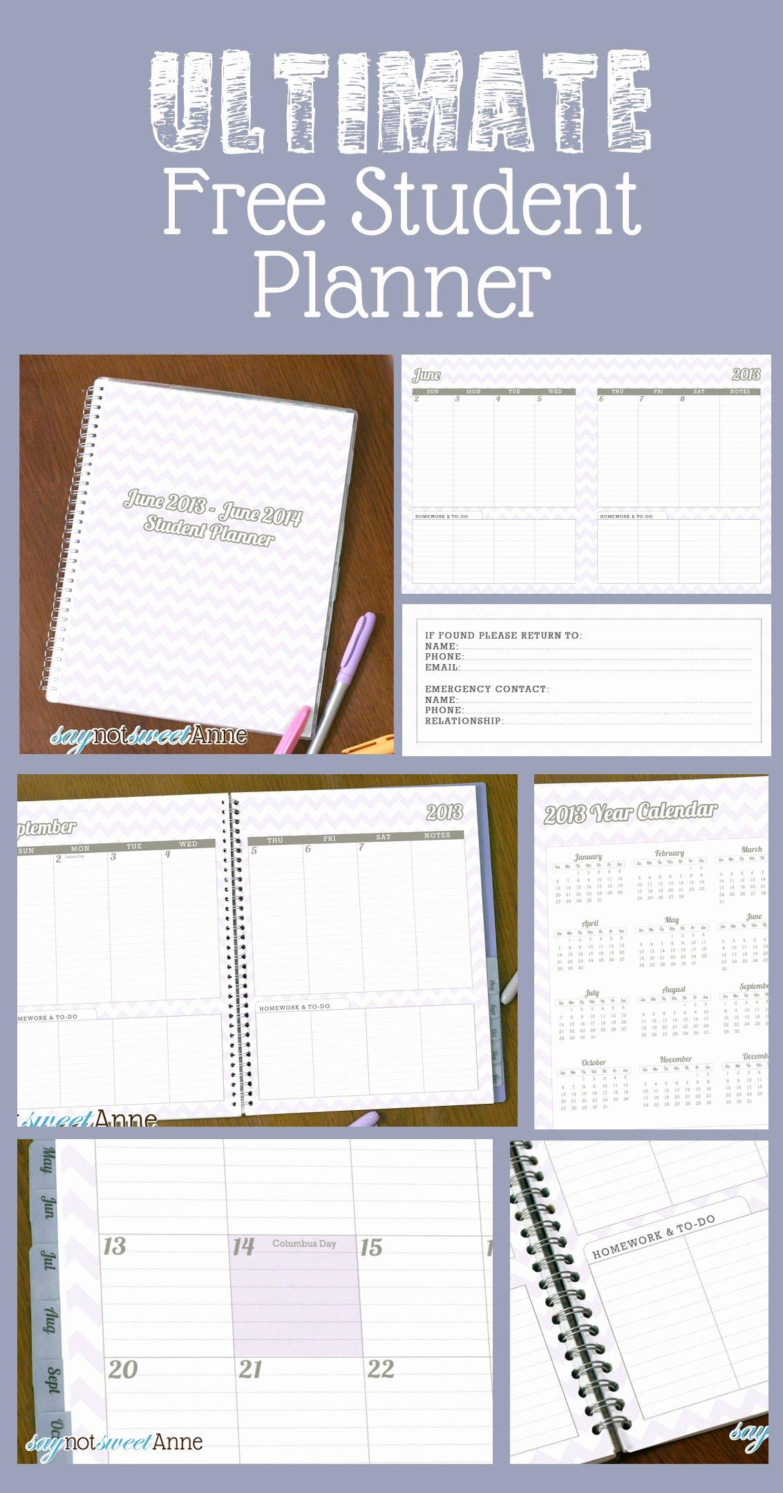 Printable Homework Planner for College Students Beautiful June to June Student Planner [2013 School Year] Sweet