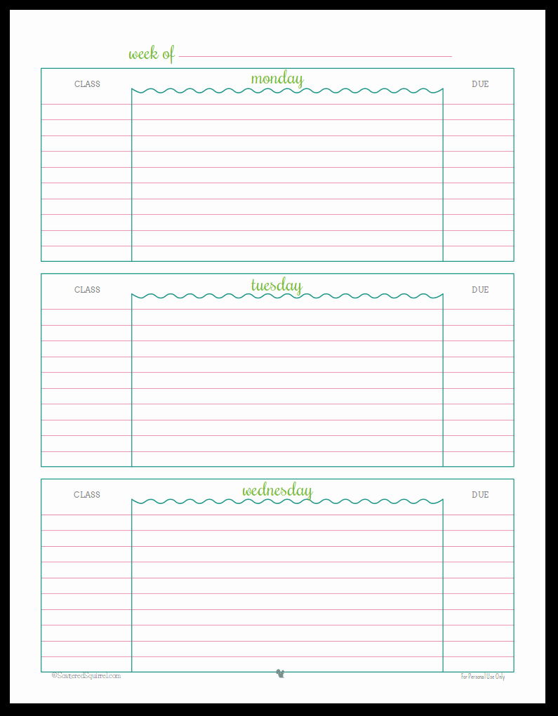 Printable Homework Planner for College Students Elegant Getting Ready for Back to School Student Planner Printables