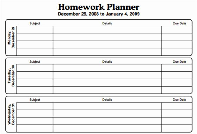 Printable Homework Planner for College Students Inspirational 15 Checklist Schedule and Planner Templates for Students