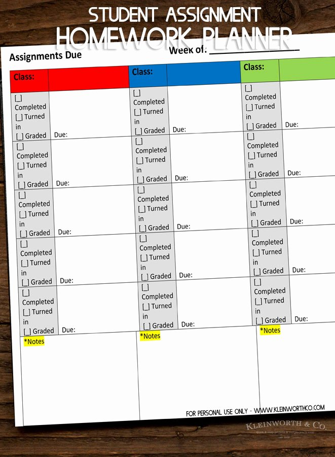 Printable Homework Planner for College Students New Student assignment Homework Planner Printable Kleinworth