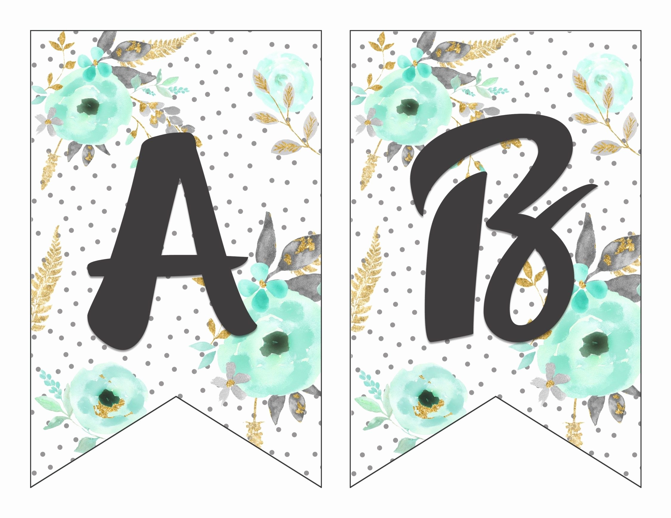 Printable Letter Banners Elegant Free Printable Alphabet Banner Mint& Gold