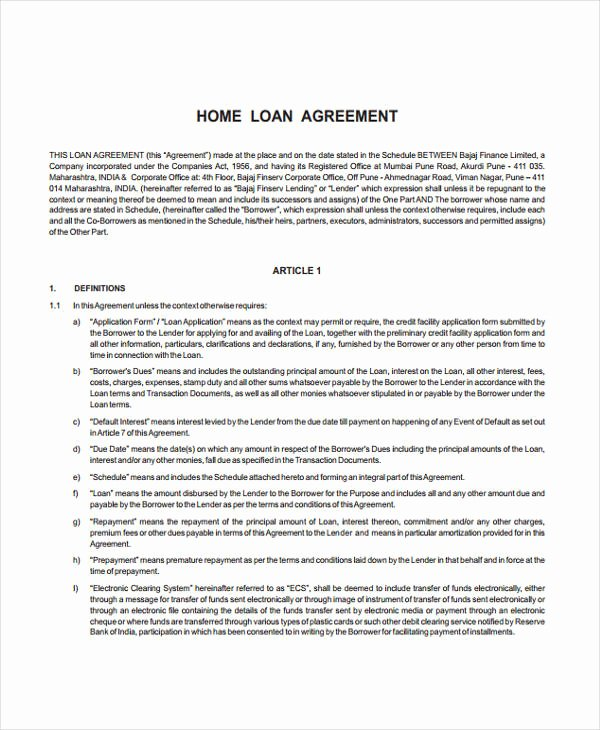Printable Loan Agreement Elegant Loan Agreement form Example 65 Free Documents In Word Pdf