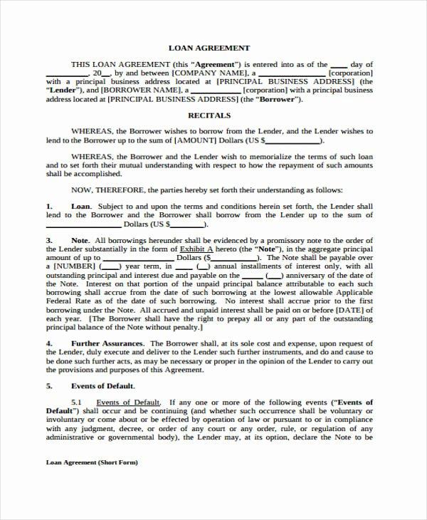 Printable Loan Agreement Inspirational Loan Agreement form Template