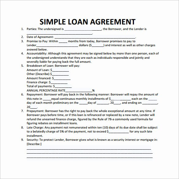 Printable Loan Agreement Inspirational Loan Contract Template – 20 Examples In Word Pdf