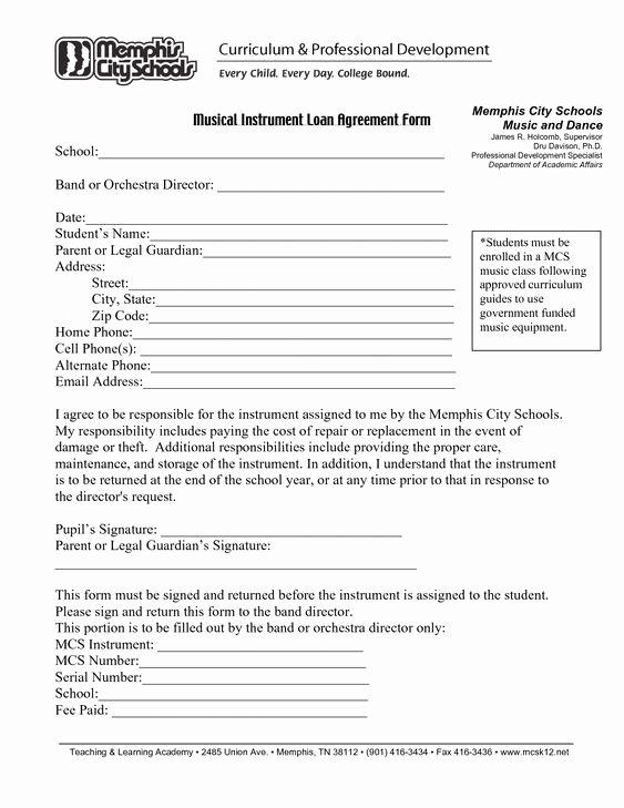 Printable Loan Agreement Inspirational Printable Sample Loan Agreement form form