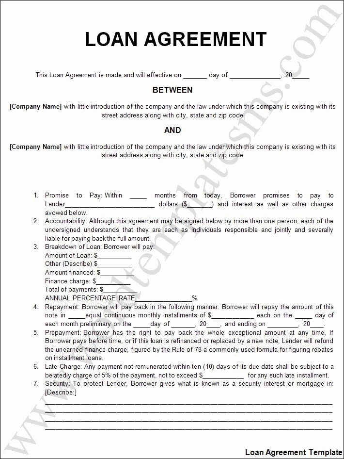 Printable Loan Agreement Lovely Free Printable Personal Loan Agreement form Generic