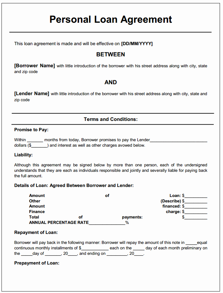 Printable Loan Agreement Lovely Personal Loan Agreement