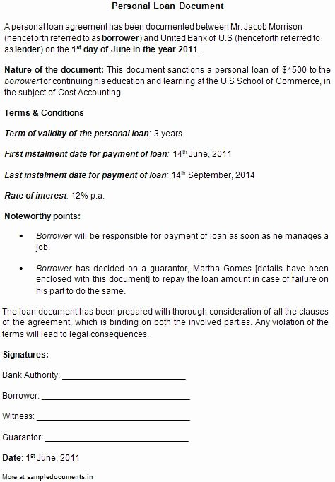 Printable Loan Agreement Luxury Printable Sample Personal Loan Contract form
