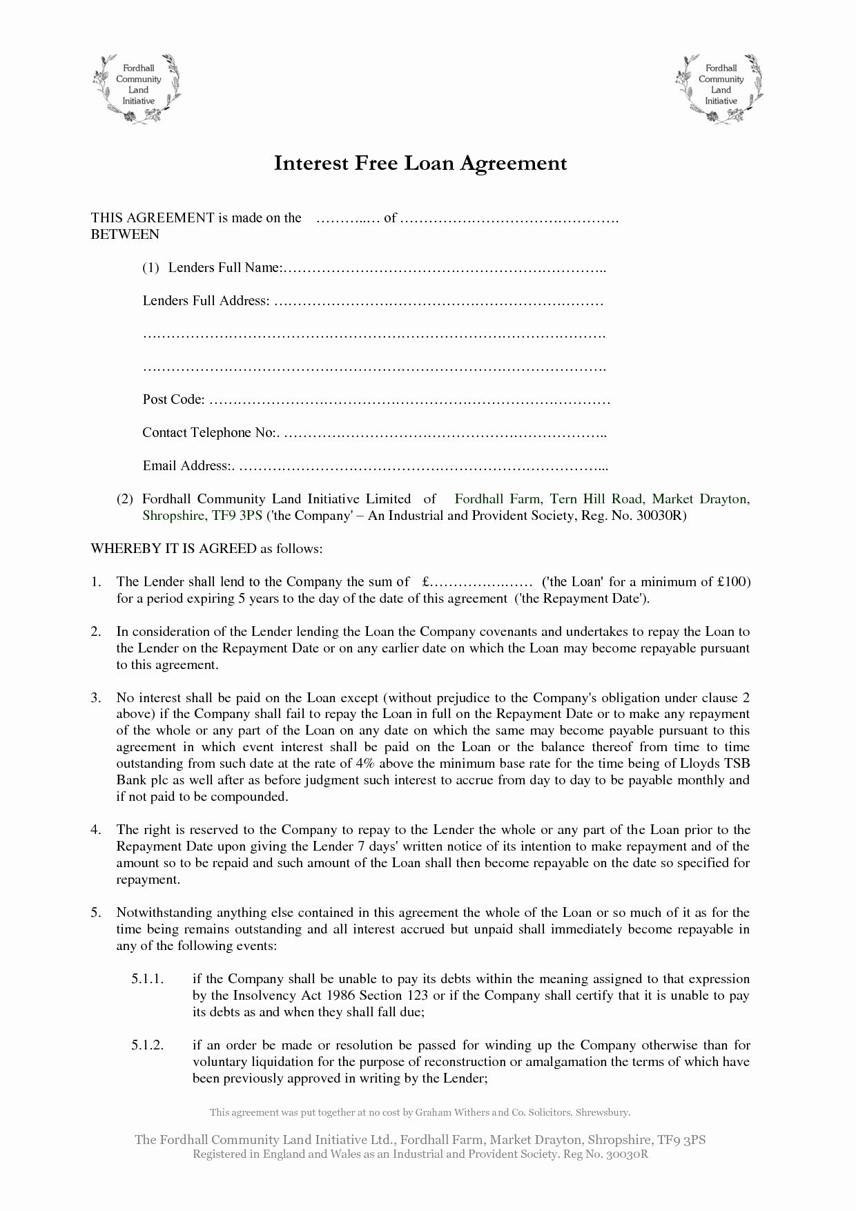 Printable Loan Agreement New Free Loan Agreement