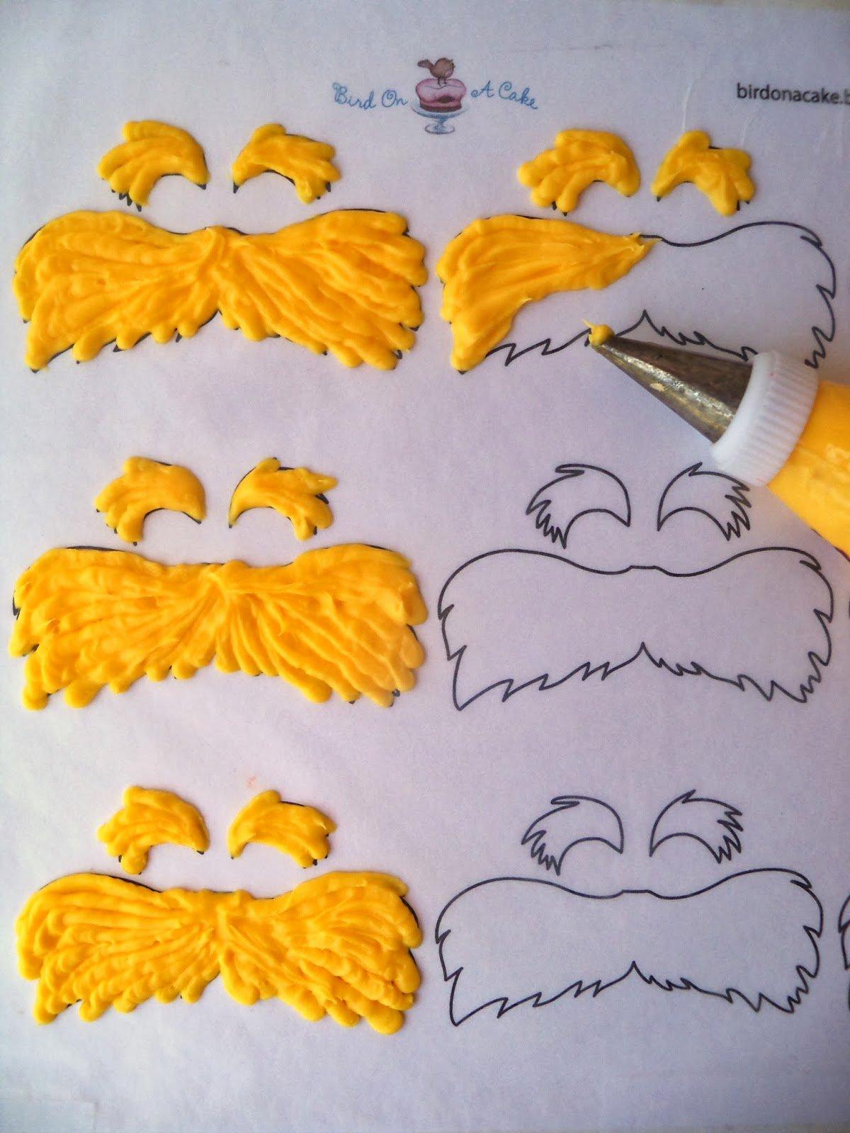 Printable Lorax Mustache and Eyebrows Beautiful Bird A Cake