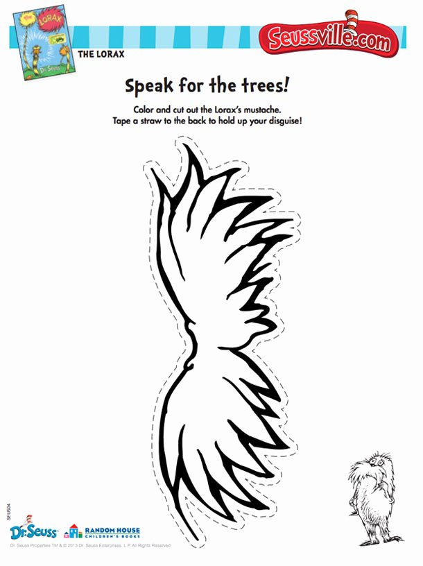 Printable Lorax Mustache and Eyebrows Lovely Seussville Parents