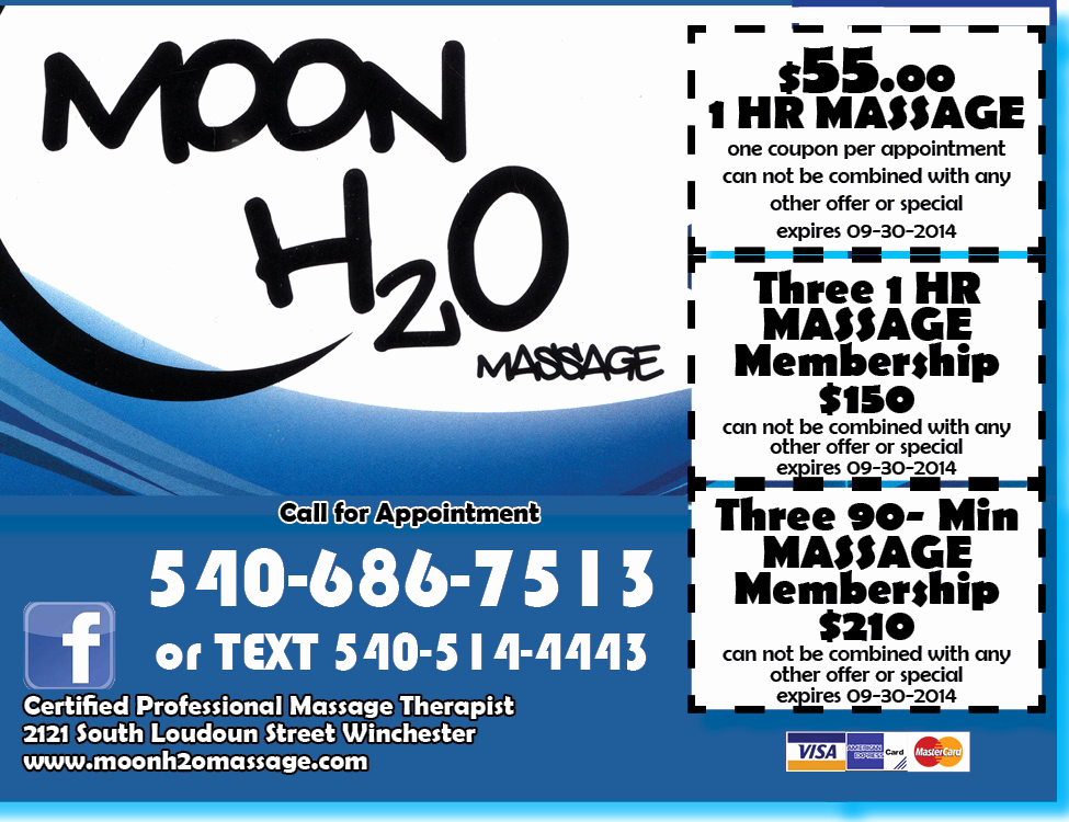 Printable Massage Coupons Awesome H20moon Massage Winchester Summer2014 Coupon