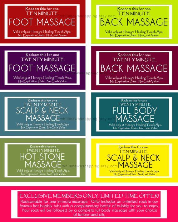 Printable Massage Coupons Elegant Massage Coupons for Him or Her Instant Download