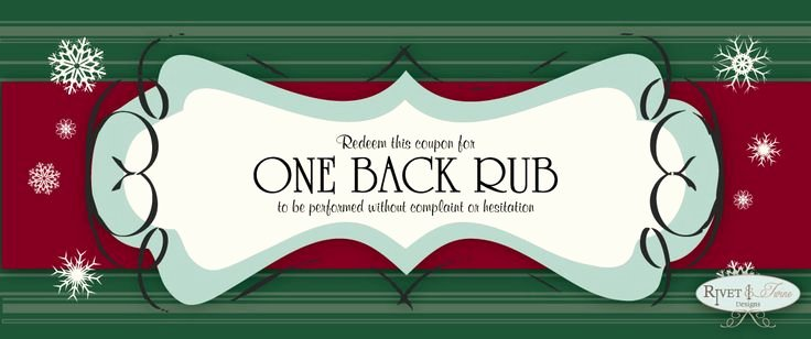 "Printable Massage Coupons Elegant Stocking Stuffers ""free Back Rub"" Coupons Ing soon"