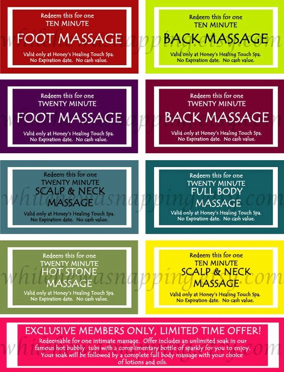 Printable Massage Coupons Unique Massage Coupons for Him or Her Instant by whilehewasnapping