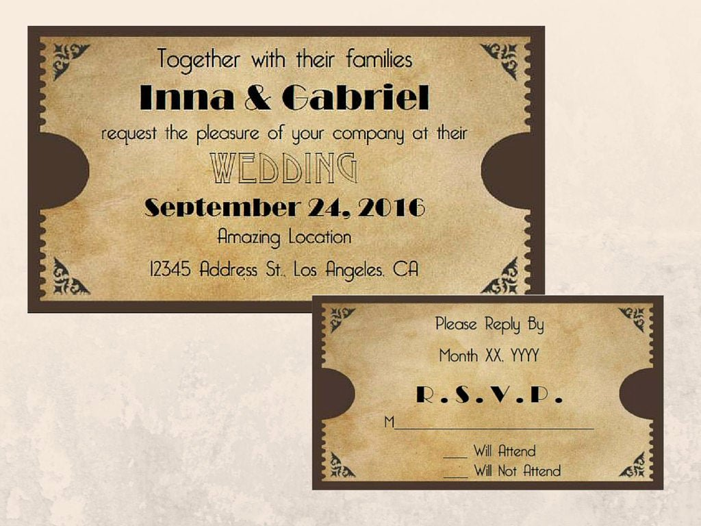 Printable Movie Ticket Invitations Beautiful Printable Movie Ticket Wedding Invitation and Rsvp Cards