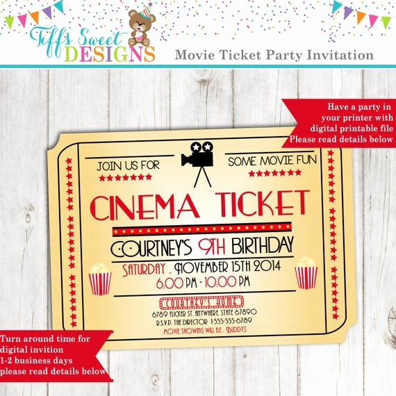 Printable Movie Ticket Invitations Best Of Movie Night Invitation Movie Ticket Invitation Cinema
