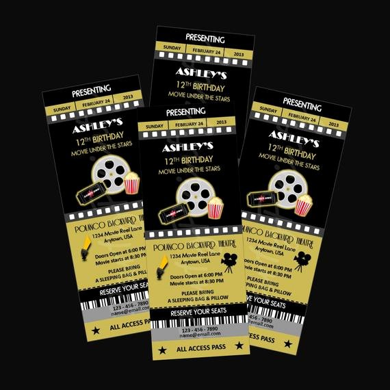 Printable Movie Ticket Invitations Best Of Printable Movie Night Party Ticket Invitations