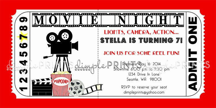 Printable Movie Ticket Invitations Fresh Vintage Movie Ticket Printable Birthday Invite Dimple