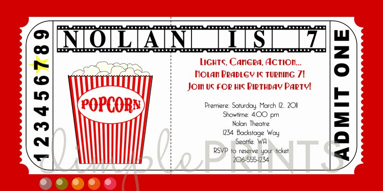 Printable Movie Ticket Invitations Inspirational Movie Ticket Printable Birthday Invitation Dimple Prints