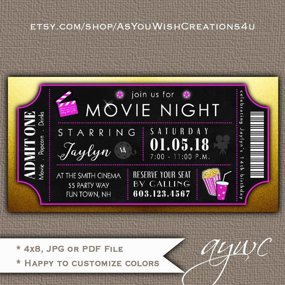 Printable Movie Ticket Invitations Lovely Movie theater Birthday Party Invitation Girl Movie Night